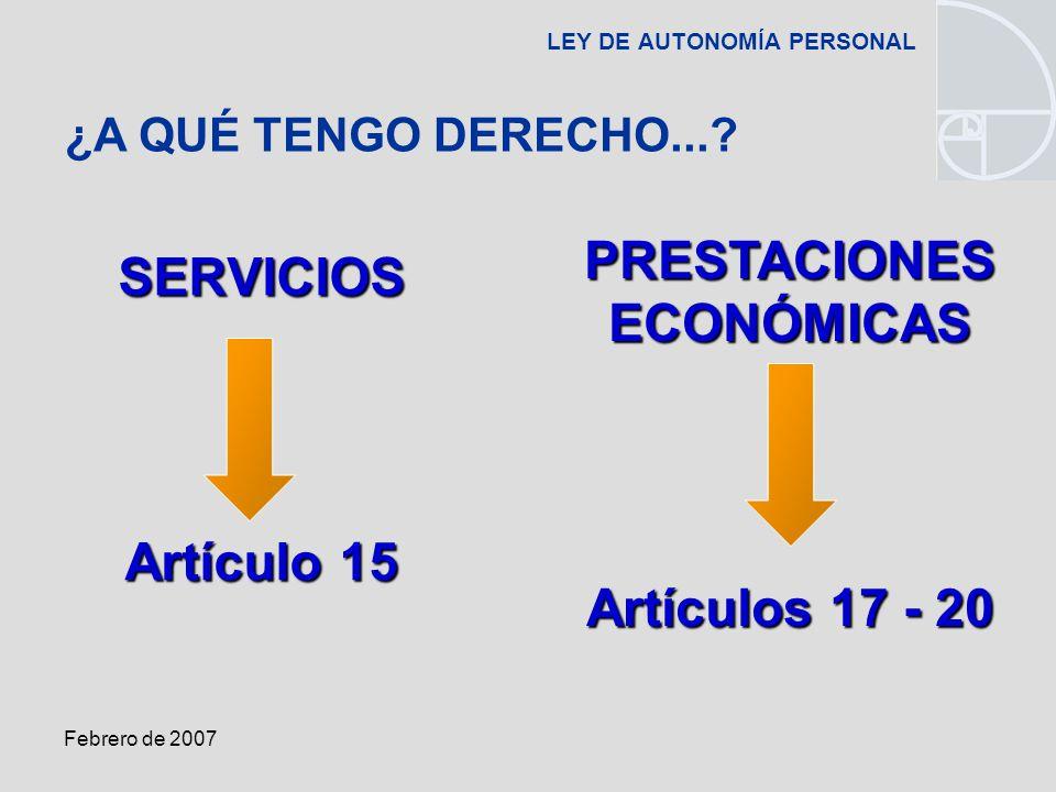 Febrero de 2007 LEY DE AUTONOMÍA PERSONALSERVICIOS Artículo 15 ¿A QUÉ TENGO DERECHO....