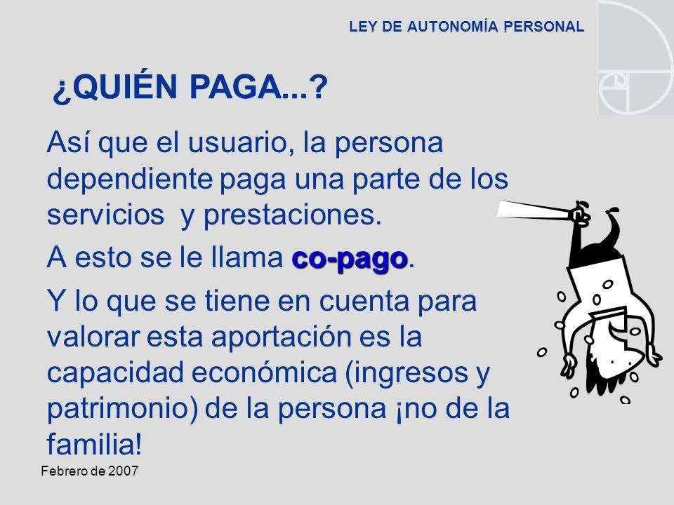 Febrero de 2007 LEY DE AUTONOMÍA PERSONAL Así que el usuario, la persona dependiente paga una parte de los servicios y prestaciones.