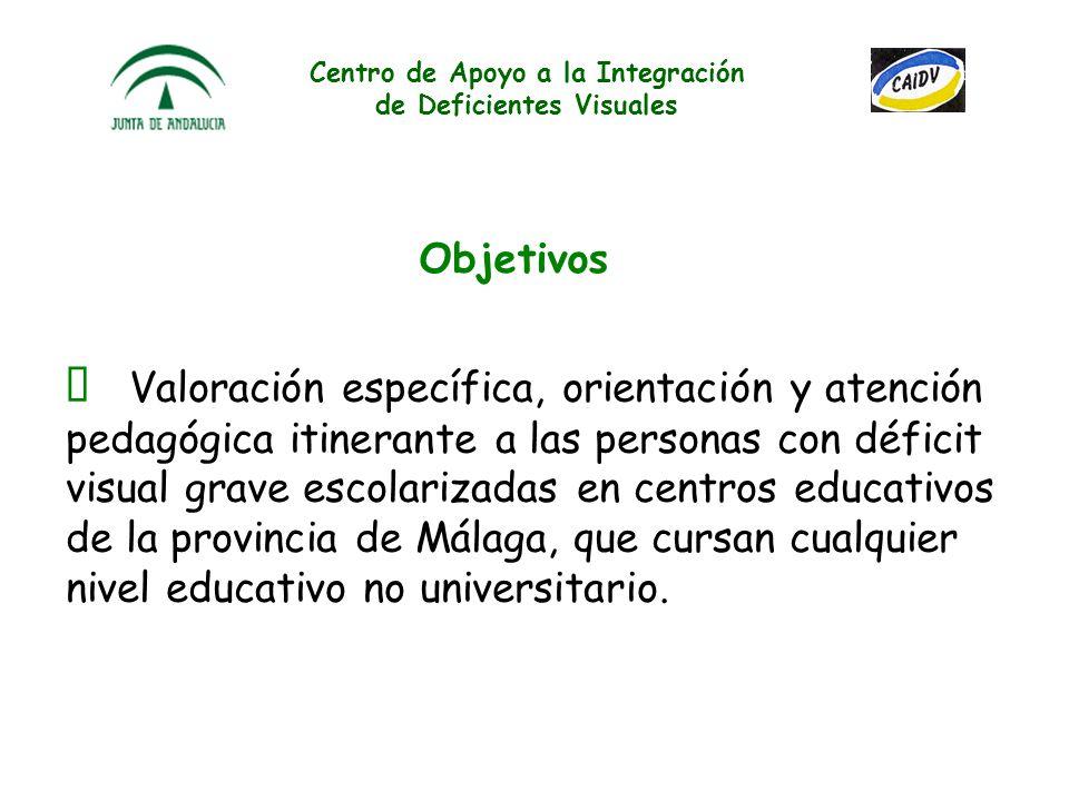 Centro de Apoyo a la Integración de Deficientes Visuales Valoración específica, orientación y atención pedagógica itinerante a las personas con déficit visual grave escolarizadas en centros educativos de la provincia de Málaga, que cursan cualquier nivel educativo no universitario.