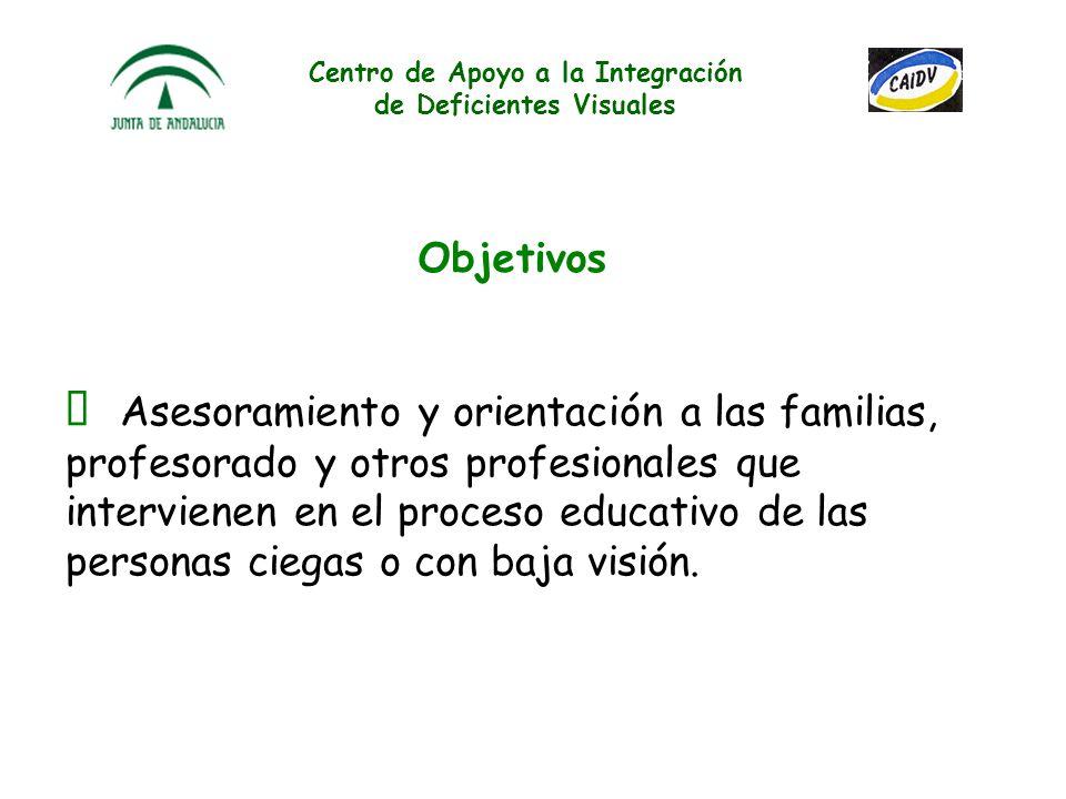 Centro de Apoyo a la Integración de Deficientes Visuales Asesoramiento y orientación a las familias, profesorado y otros profesionales que intervienen en el proceso educativo de las personas ciegas o con baja visión.