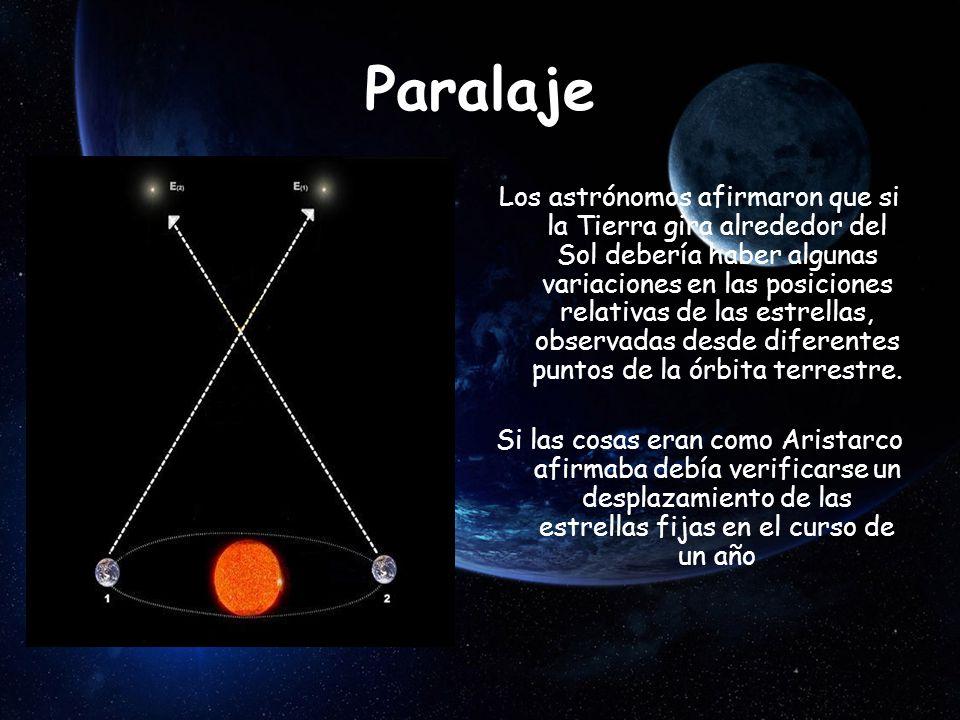 Paralaje Los astrónomos afirmaron que si la Tierra gira alrededor del Sol debería haber algunas variaciones en las posiciones relativas de las estrellas, observadas desde diferentes puntos de la órbita terrestre.