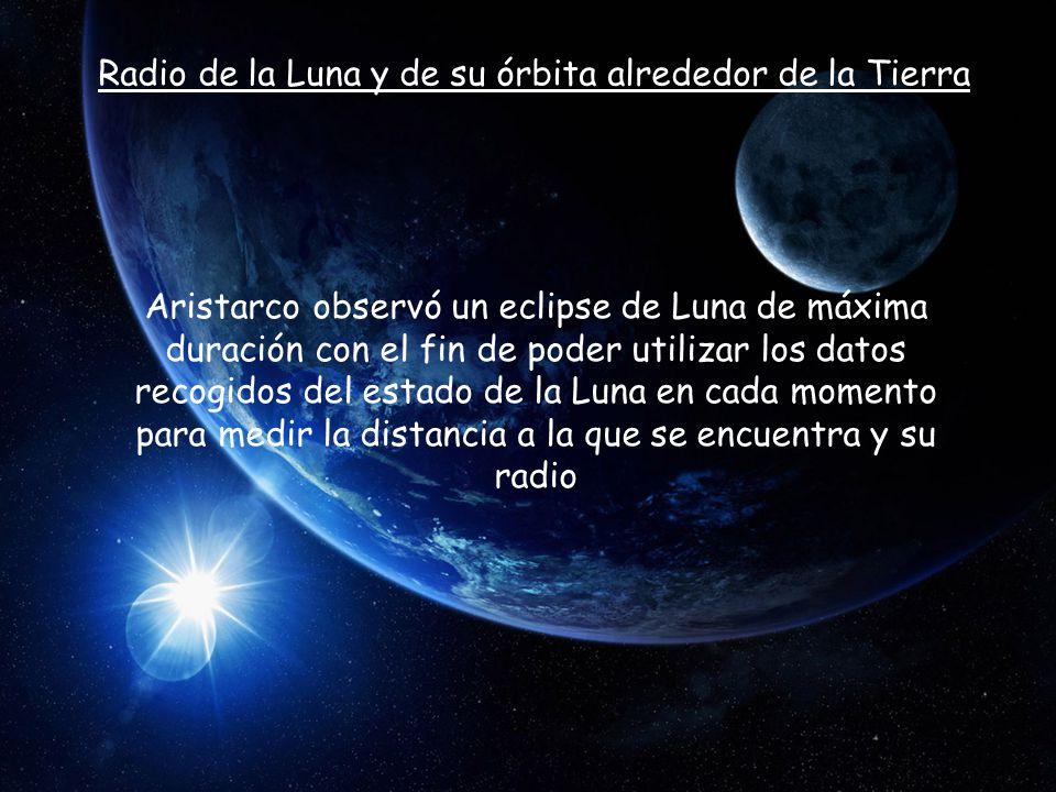 Radio de la Luna y de su órbita alrededor de la Tierra Aristarco observó un eclipse de Luna de máxima duración con el fin de poder utilizar los datos recogidos del estado de la Luna en cada momento para medir la distancia a la que se encuentra y su radio