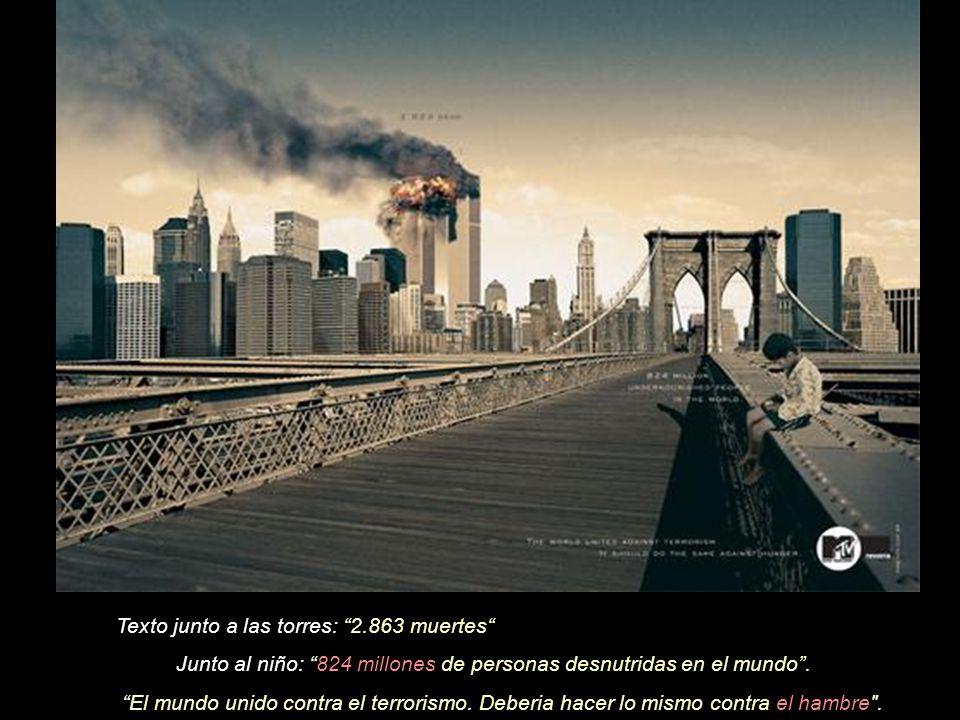 Texto junto a las torres: 2.863 muertes (en el cartel que sostiene el hombre: HIV positivo.