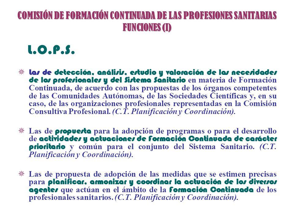 COMISIÓN DE FORMACIÓN CONTINUADA DE LAS PROFESIONES SANITARIAS FUNCIONES (I) L.O.P.S. Las de detección, análisis, estudio y valoración de las necesida