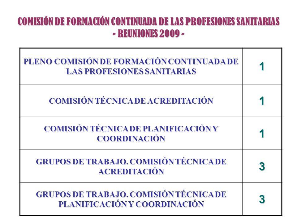 COMISIÓN DE FORMACIÓN CONTINUADA DE LAS PROFESIONES SANITARIAS - REUNIONES 2009 - PLENO COMISIÓN DE FORMACIÓN CONTINUADA DE LAS PROFESIONES SANITARIAS