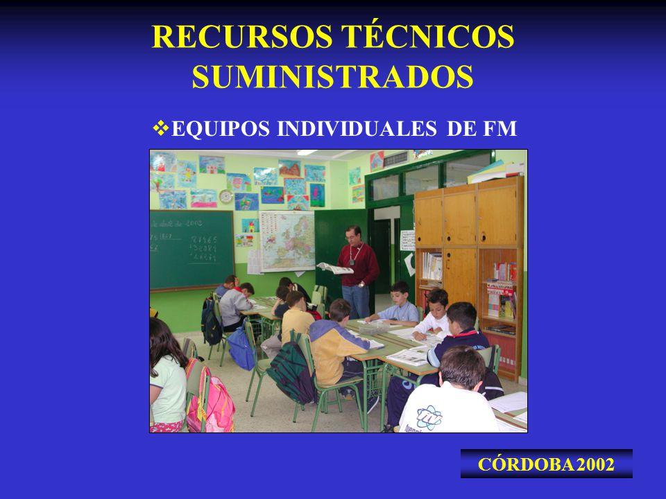 RECURSOS TÉCNICOS SUMINISTRADOS CÓRDOBA 2002 EQUIPOS INDIVIDUALES DE FM