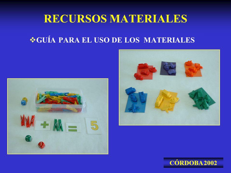 RECURSOS MATERIALES GUÍA PARA EL USO DE LOS MATERIALES CÓRDOBA 2002