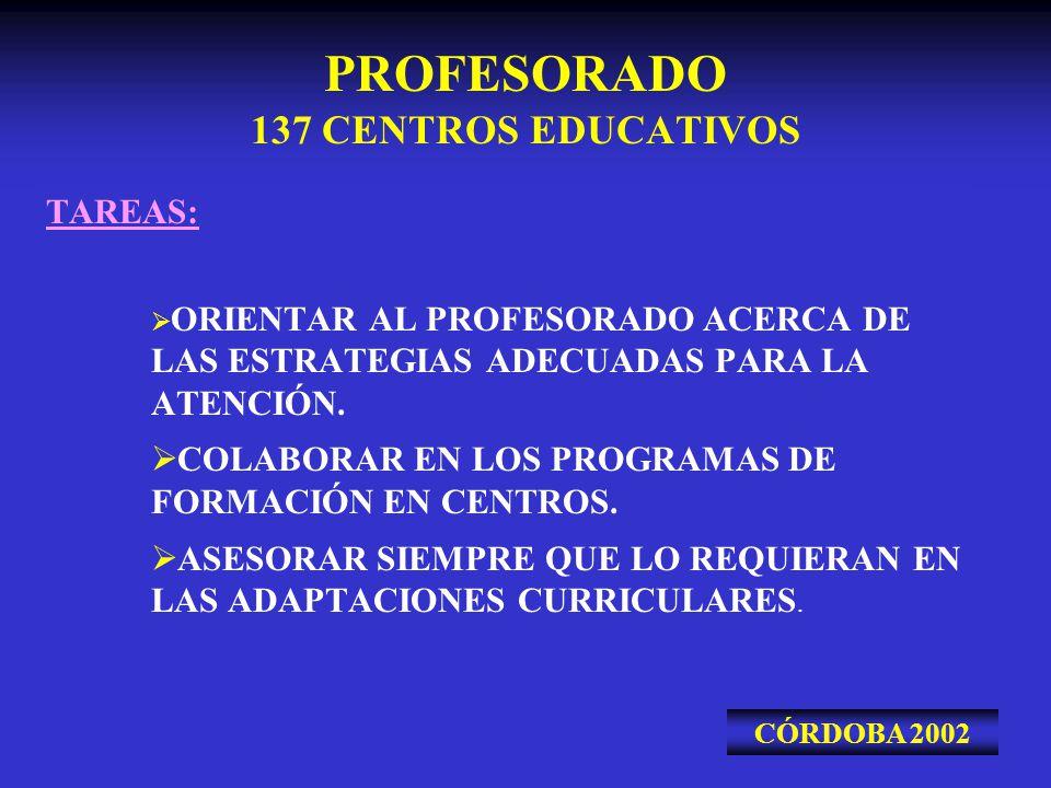 PROFESORADO 137 CENTROS EDUCATIVOS TAREAS: ORIENTAR AL PROFESORADO ACERCA DE LAS ESTRATEGIAS ADECUADAS PARA LA ATENCIÓN. COLABORAR EN LOS PROGRAMAS DE