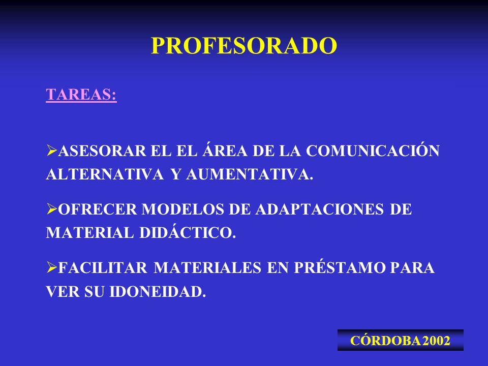 PROFESORADO TAREAS: ASESORAR EL EL ÁREA DE LA COMUNICACIÓN ALTERNATIVA Y AUMENTATIVA. OFRECER MODELOS DE ADAPTACIONES DE MATERIAL DIDÁCTICO. FACILITAR