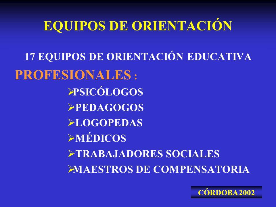 EQUIPOS DE ORIENTACIÓN 17 EQUIPOS DE ORIENTACIÓN EDUCATIVA PROFESIONALES : PSICÓLOGOS PEDAGOGOS LOGOPEDAS MÉDICOS TRABAJADORES SOCIALES MAESTROS DE CO