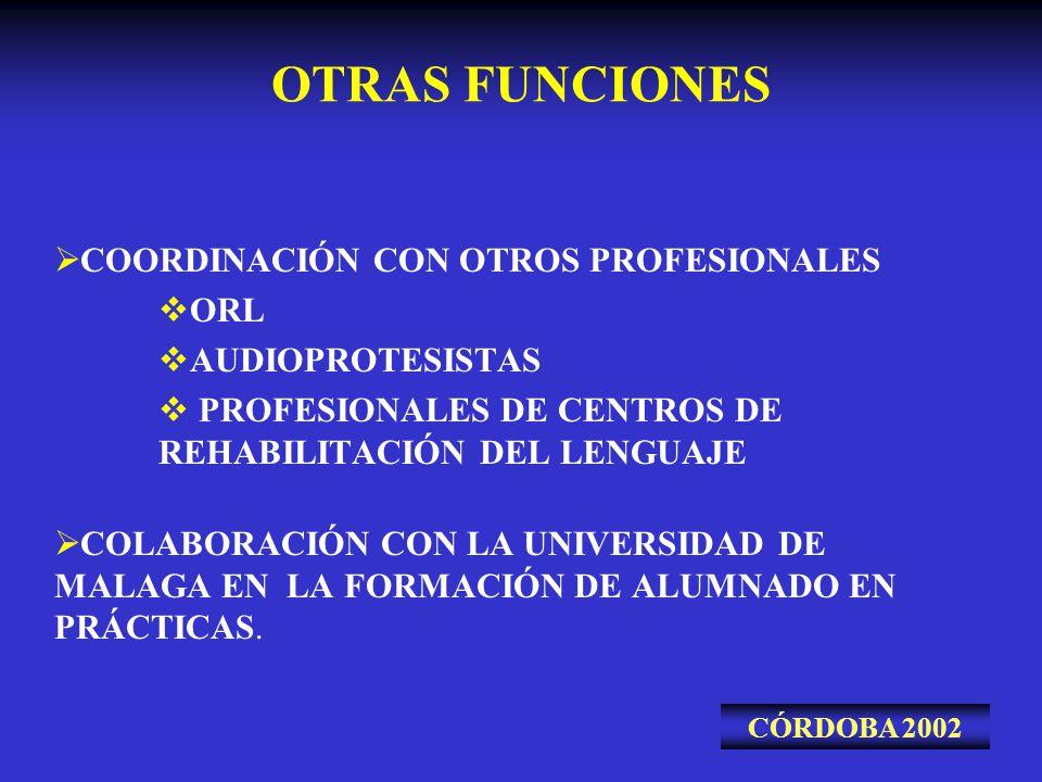 OTRAS FUNCIONES COORDINACIÓN CON OTROS PROFESIONALES ORL AUDIOPROTESISTAS PROFESIONALES DE CENTROS DE REHABILITACIÓN DEL LENGUAJE COLABORACIÓN CON LA