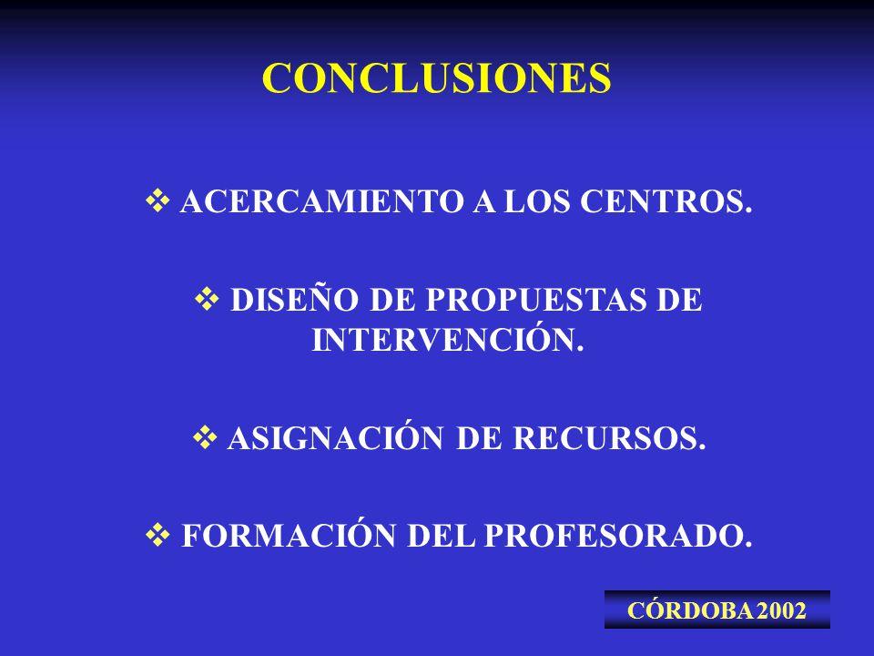 CONCLUSIONES CÓRDOBA 2002 ACERCAMIENTO A LOS CENTROS. DISEÑO DE PROPUESTAS DE INTERVENCIÓN. ASIGNACIÓN DE RECURSOS. FORMACIÓN DEL PROFESORADO.