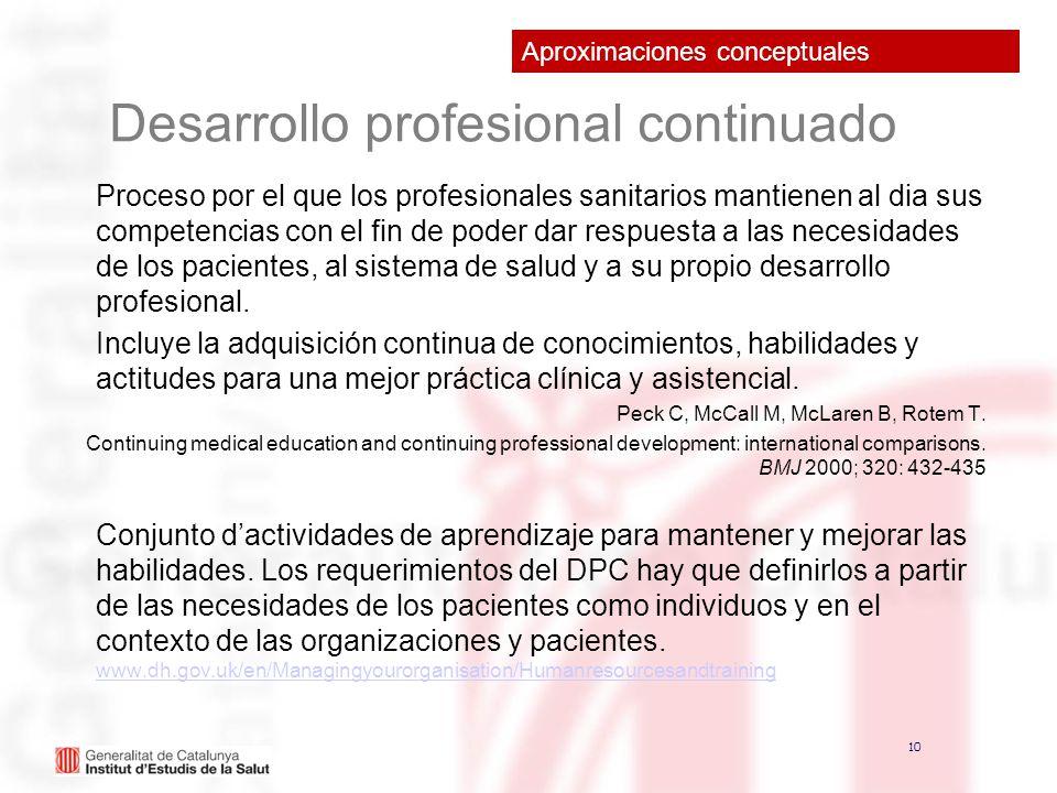10 Desarrollo profesional continuado Proceso por el que los profesionales sanitarios mantienen al dia sus competencias con el fin de poder dar respues