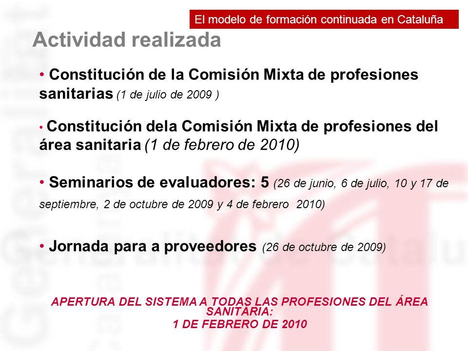 Actividad realizada APERTURA DEL SISTEMA A TODAS LAS PROFESIONES DEL ÁREA SANITÀRIA: 1 DE FEBRERO DE 2010 Constitución de la Comisión Mixta de profesi