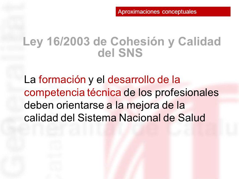 Ley 16/2003 de Cohesión y Calidad del SNS La formación y el desarrollo de la competencia técnica de los profesionales deben orientarse a la mejora de