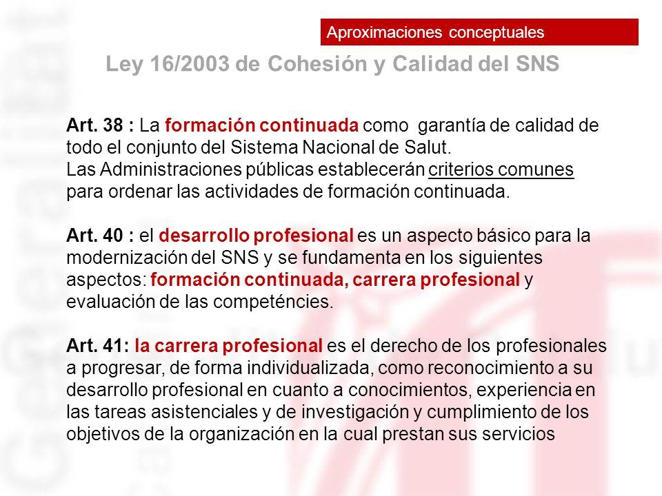 Ley 16/2003 de Cohesión y Calidad del SNS Art. 38 : La formación continuada como garantía de calidad de todo el conjunto del Sistema Nacional de Salut