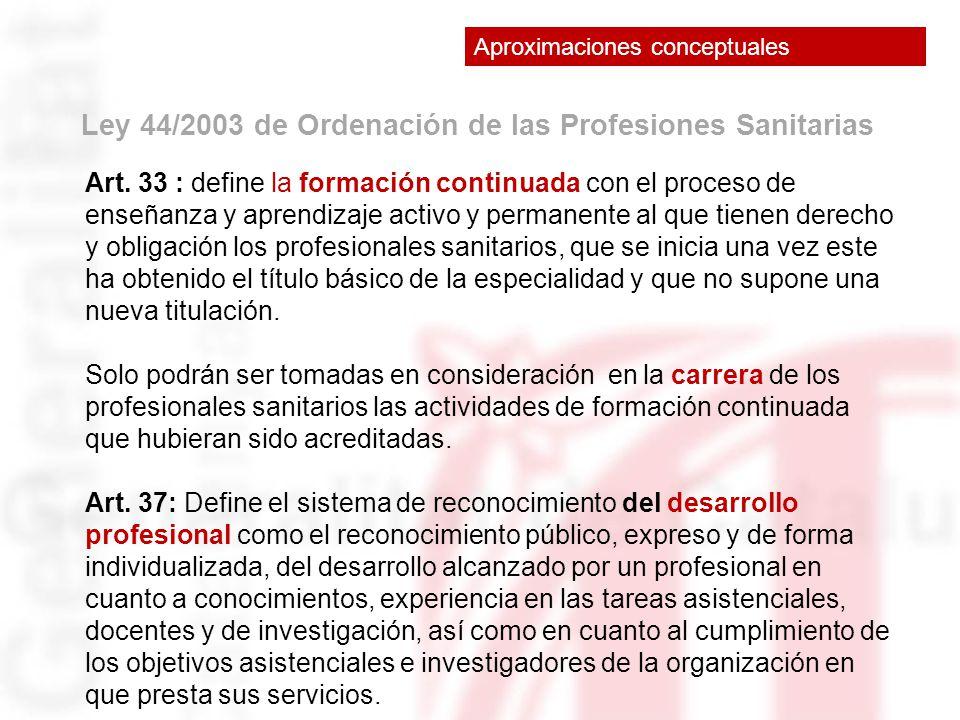 Ley 44/2003 de Ordenación de las Profesiones Sanitarias Art. 33 : define la formación continuada con el proceso de enseñanza y aprendizaje activo y pe