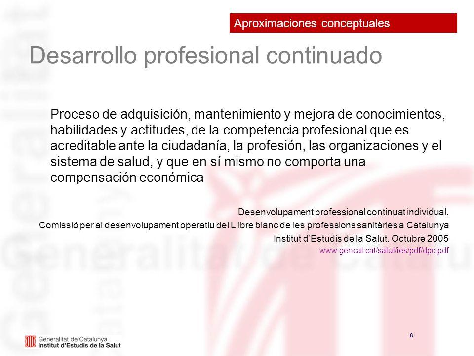 8 8 Desarrollo profesional continuado Proceso de adquisición, mantenimiento y mejora de conocimientos, habilidades y actitudes, de la competencia prof