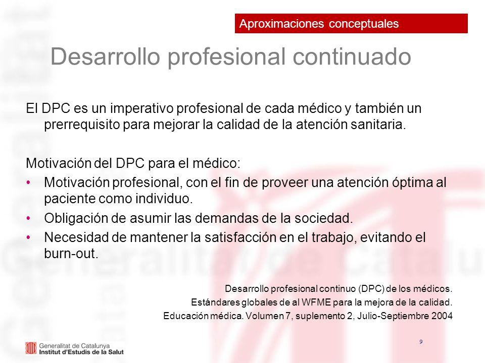 9 9 Desarrollo profesional continuado El DPC es un imperativo profesional de cada médico y también un prerrequisito para mejorar la calidad de la aten