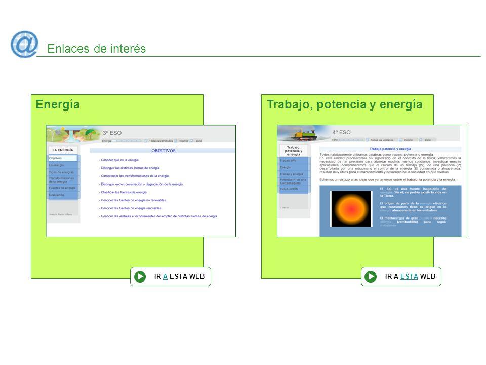 Enlaces de interés Energía IR A ESTA WEB Trabajo, potencia y energía IR A ESTA WEB