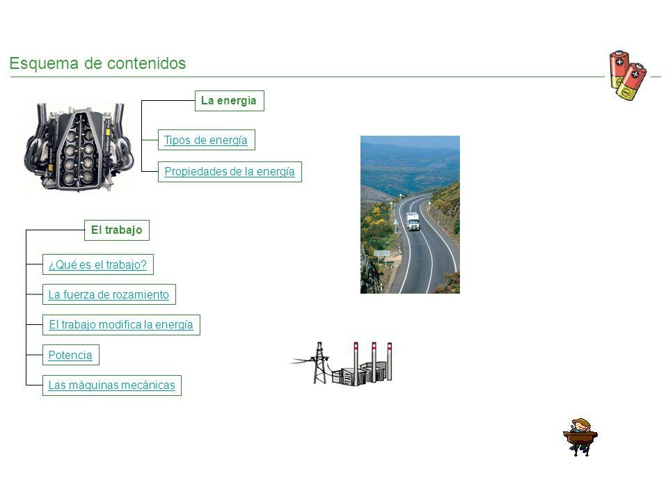 Esquema de contenidos La energía Tipos de energía Propiedades de la energía La fuerza de rozamiento ¿Qué es el trabajo? El trabajo El trabajo modifica