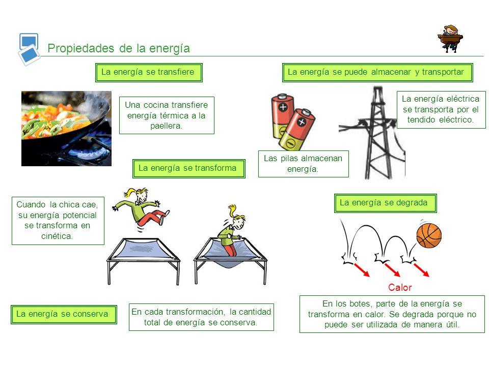 Propiedades de la energía La energía se transfiere La energía se transforma La energía se conserva Calor En los botes, parte de la energía se transfor