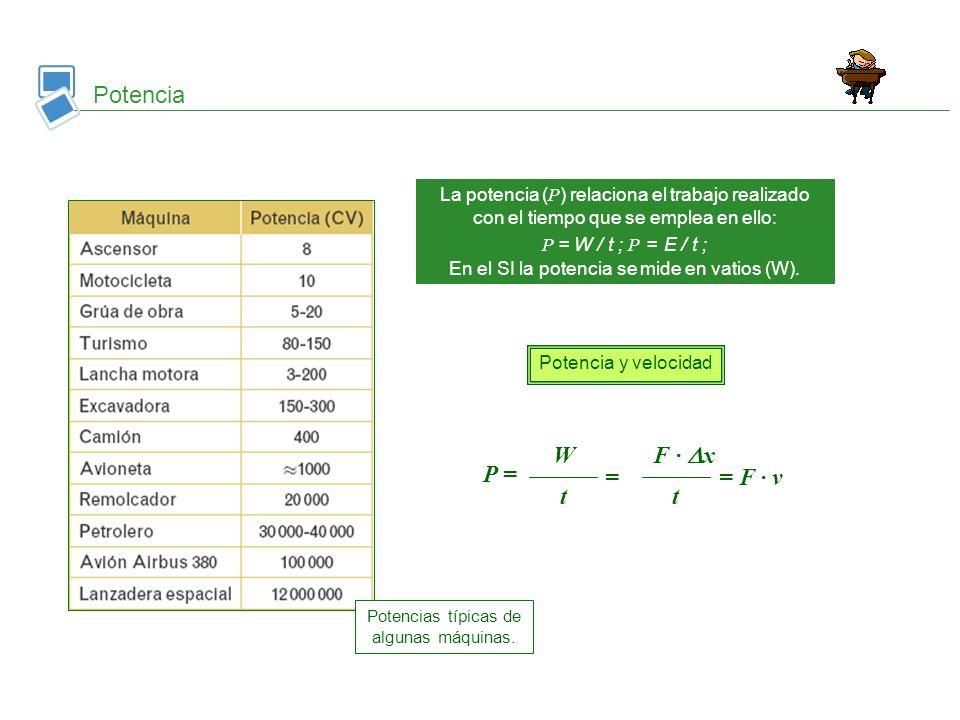 Potencia La potencia ( Ρ ) relaciona el trabajo realizado con el tiempo que se emplea en ello: Ρ = W / t ; Ρ = E / t ; En el SI la potencia se mide en
