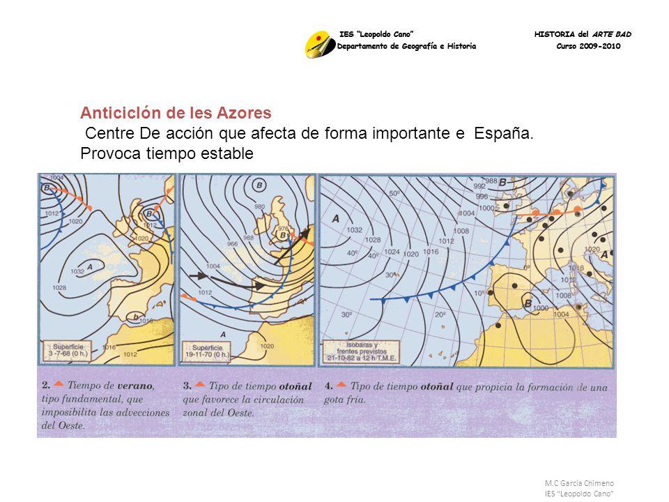 M.C García Chimeno IES Leopoldo Cano Anticiclón de les Azores Centre De acción que afecta de forma importante e España. Provoca tiempo estable
