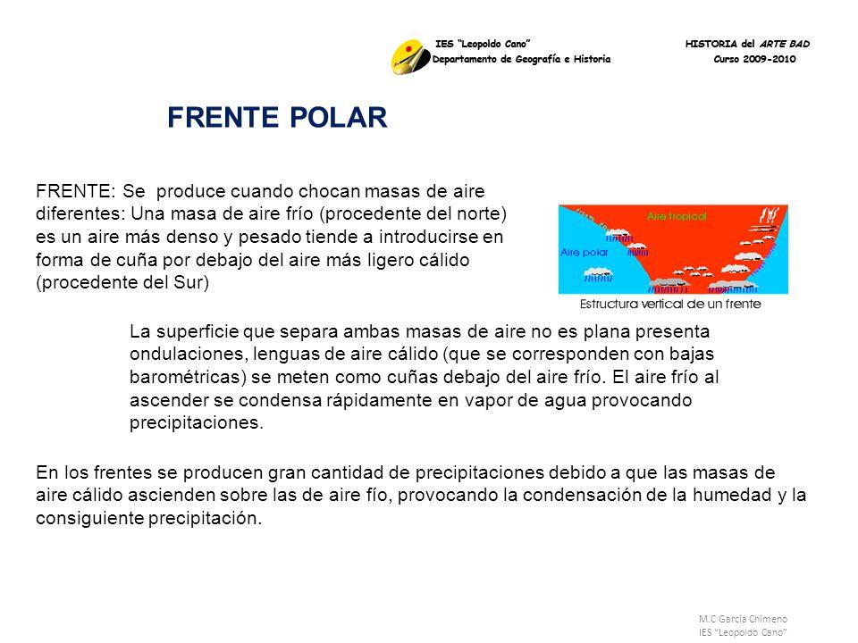 M.C García Chimeno IES Leopoldo Cano FRENTE: Se produce cuando chocan masas de aire diferentes: Una masa de aire frío (procedente del norte) es un air