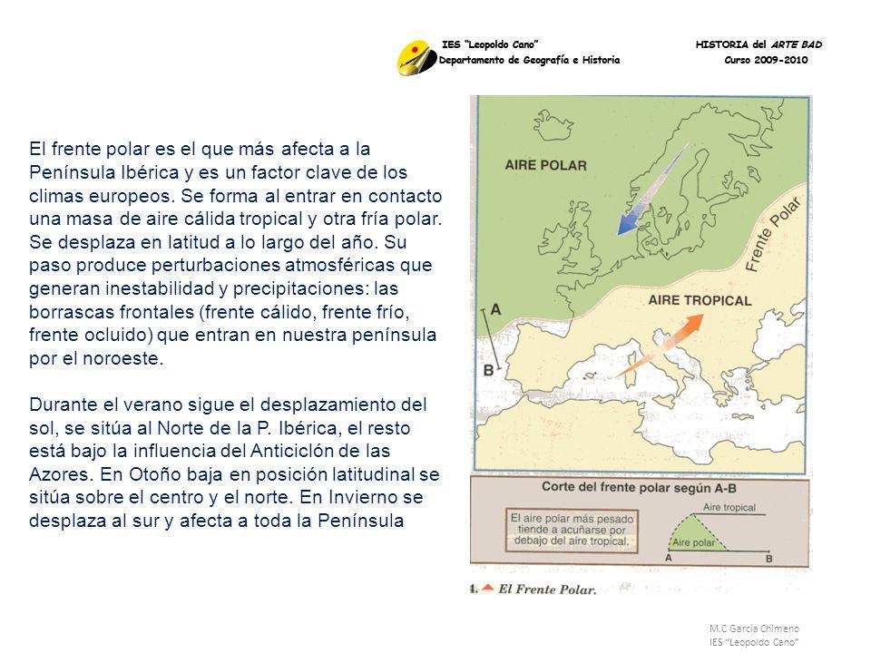 M.C García Chimeno IES Leopoldo Cano El frente polar es el que más afecta a la Península Ibérica y es un factor clave de los climas europeos. Se forma
