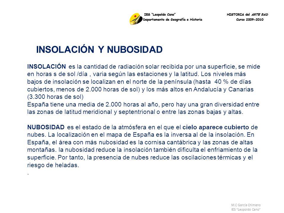 M.C García Chimeno IES Leopoldo Cano INSOLACIÓN Y NUBOSIDAD INSOLACIÓN es la cantidad de radiación solar recibida por una superficie, se mide en horas