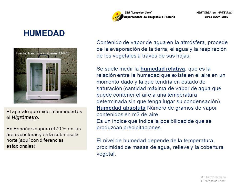 M.C García Chimeno IES Leopoldo Cano HUMEDAD Fuente: banco de imágenes CNICE Contenido de vapor de agua en la atmósfera, procede de la evaporación de