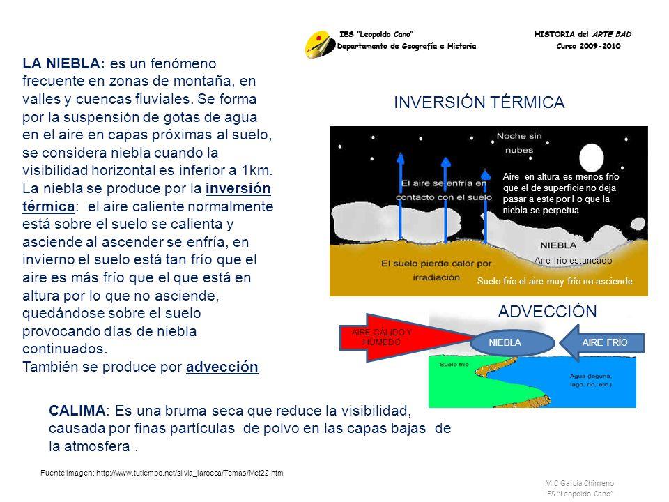 M.C García Chimeno IES Leopoldo Cano LA NIEBLA: es un fenómeno frecuente en zonas de montaña, en valles y cuencas fluviales. Se forma por la suspensió