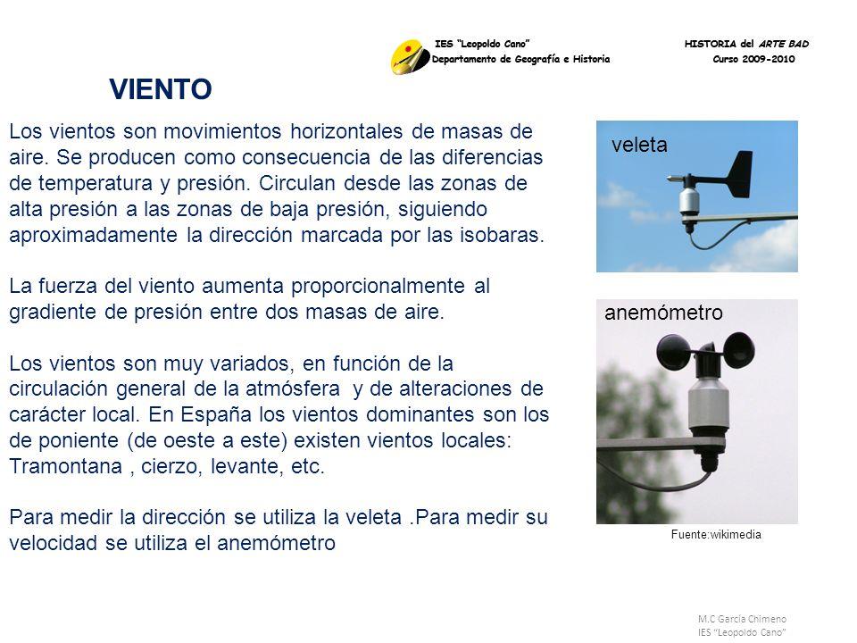 M.C García Chimeno IES Leopoldo Cano VIENTO Los vientos son movimientos horizontales de masas de aire. Se producen como consecuencia de las diferencia