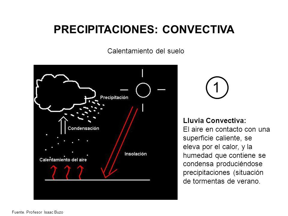 PRECIPITACIONES: CONVECTIVA Calentamiento del suelo Lluvia Convectiva: El aire en contacto con una superficie caliente, se eleva por el calor, y la hu