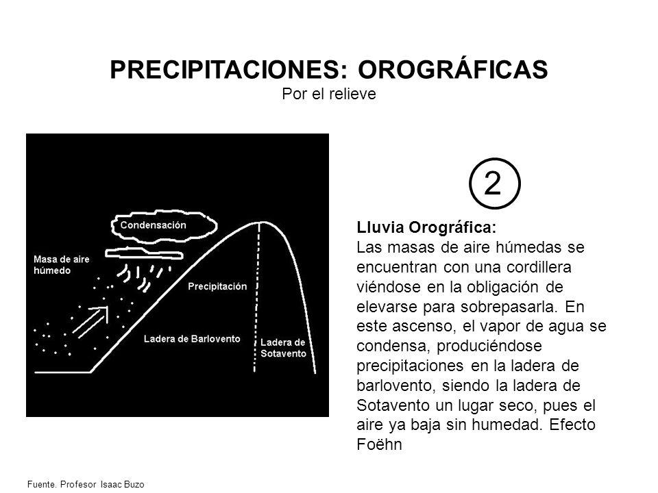 PRECIPITACIONES: OROGRÁFICAS Por el relieve 2 Lluvia Orográfica: Las masas de aire húmedas se encuentran con una cordillera viéndose en la obligación