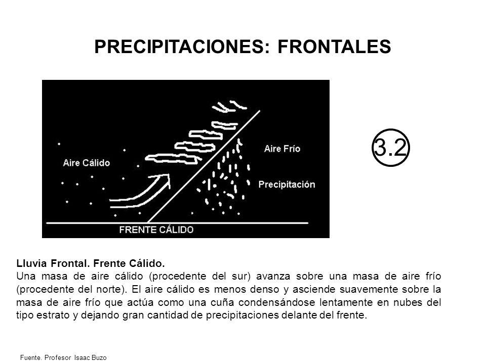 PRECIPITACIONES: FRONTALES 3.2 Lluvia Frontal. Frente Cálido. Una masa de aire cálido (procedente del sur) avanza sobre una masa de aire frío (procede
