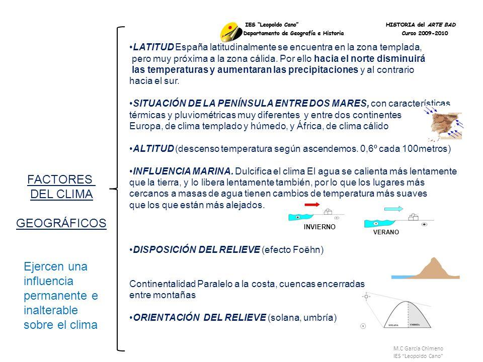 M.C García Chimeno IES Leopoldo Cano El frente polar es el que más afecta a la Península Ibérica y es un factor clave de los climas europeos.