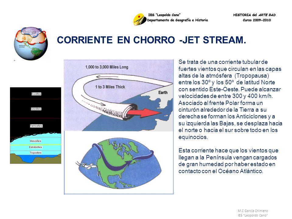 M.C García Chimeno IES Leopoldo Cano CORRIENTE EN CHORRO -JET STREAM. Se trata de una corriente tubular de fuertes vientos que circulan en las capas a