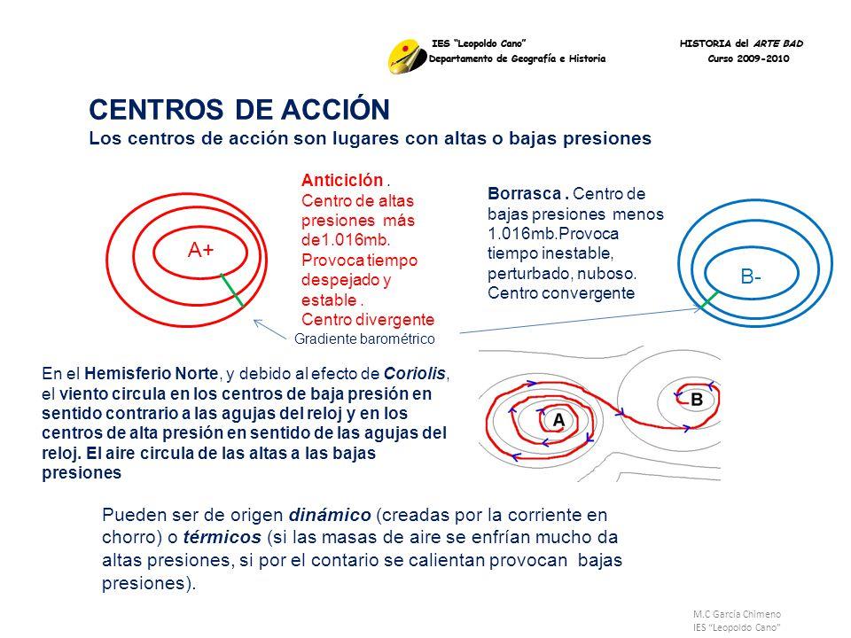M.C García Chimeno IES Leopoldo Cano En el se representa la presión mediante el uso de isobaras líneas que unen puntos que tiene igual presión, separan los centros de acción Isobara Centro de alta presión, Anticiclón Centro de baja presión, Borrasca MAPA DEL TIEMPO O ISOBÁRICO