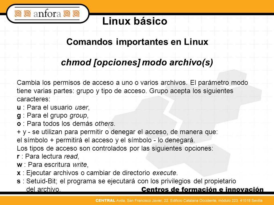 Linux básico Comandos importantes en Linux df [opcion(es)] [directorio] Si se ejecuta el comando df disk free sin ninguna opción, se nos dará una estadística sobre el espacio total, el ocupado y el libre de todas las unidades de disco montadas.