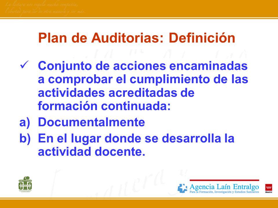 Plan de Auditorias: Definición Conjunto de acciones encaminadas a comprobar el cumplimiento de las actividades acreditadas de formación continuada: a)