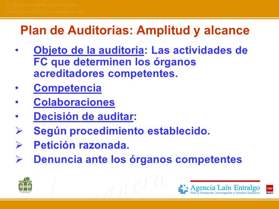Plan de Auditorias: Amplitud y alcance Objeto de la auditoria: Las actividades de FC que determinen los órganos acreditadores competentes. Competencia
