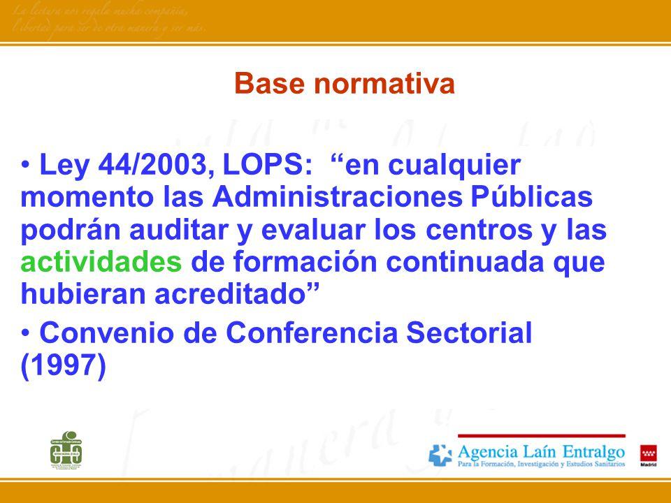 Base normativa Ley 44/2003, LOPS: en cualquier momento las Administraciones Públicas podrán auditar y evaluar los centros y las actividades de formaci