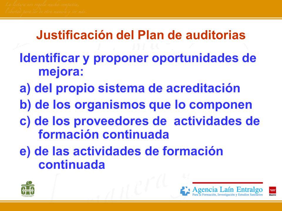 Justificación del Plan de auditorias Identificar y proponer oportunidades de mejora: a) del propio sistema de acreditación b) de los organismos que lo