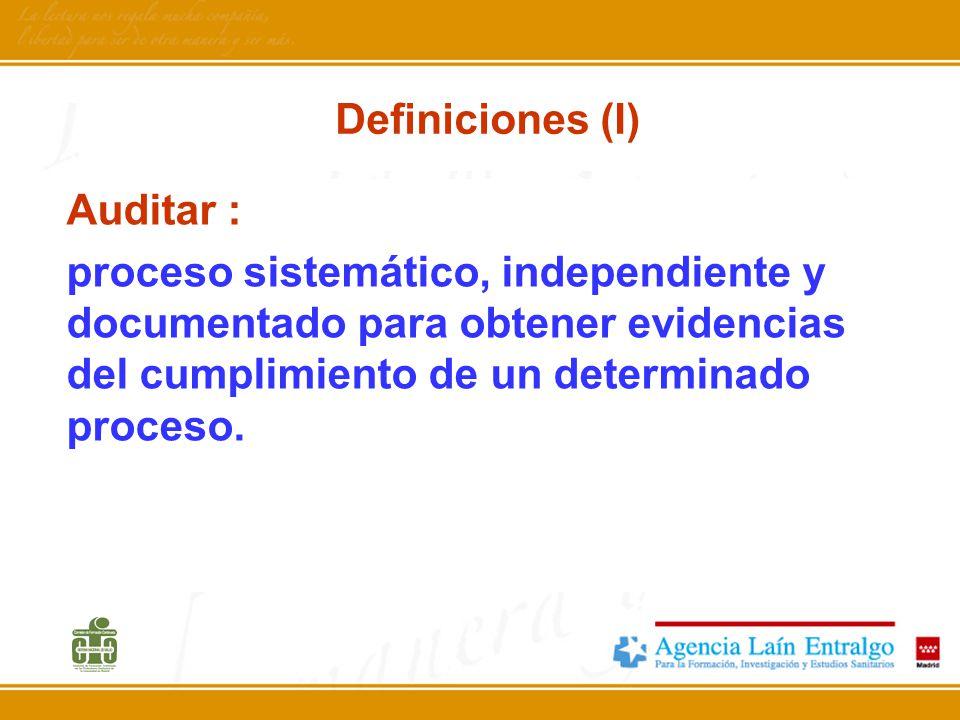 Definiciones (I) Auditar : proceso sistemático, independiente y documentado para obtener evidencias del cumplimiento de un determinado proceso.