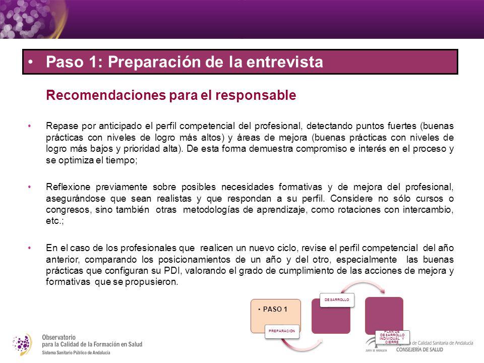 Recomendaciones para el responsable Repase por anticipado el perfil competencial del profesional, detectando puntos fuertes (buenas prácticas con nive