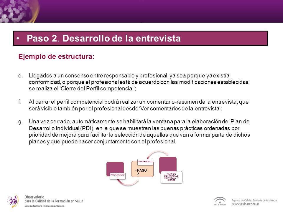Paso 2. Desarrollo de la entrevista Ejemplo de estructura: PREPARACIÖ N PASO 2 DESARROLLO PLAN DE DESARROLLO INDIVIDUAL Y CIERRE e.Llegados a un conse