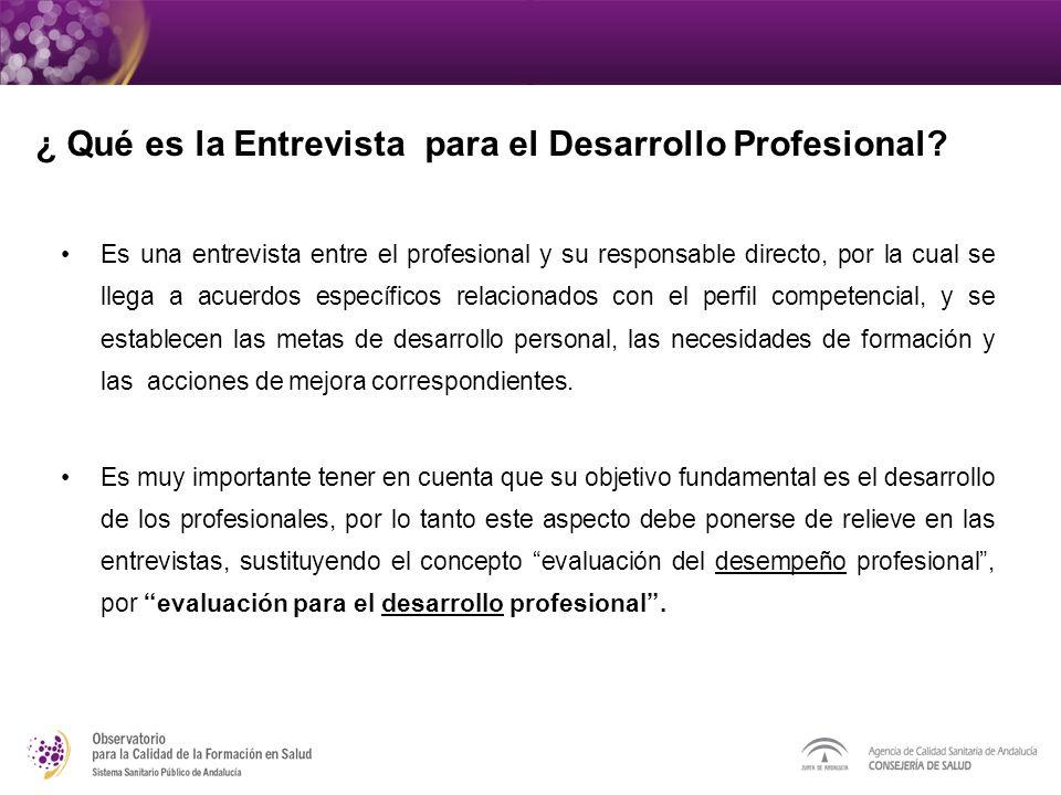 Es una entrevista entre el profesional y su responsable directo, por la cual se llega a acuerdos específicos relacionados con el perfil competencial, y se establecen las metas de desarrollo personal, las necesidades de formación y las acciones de mejora correspondientes.