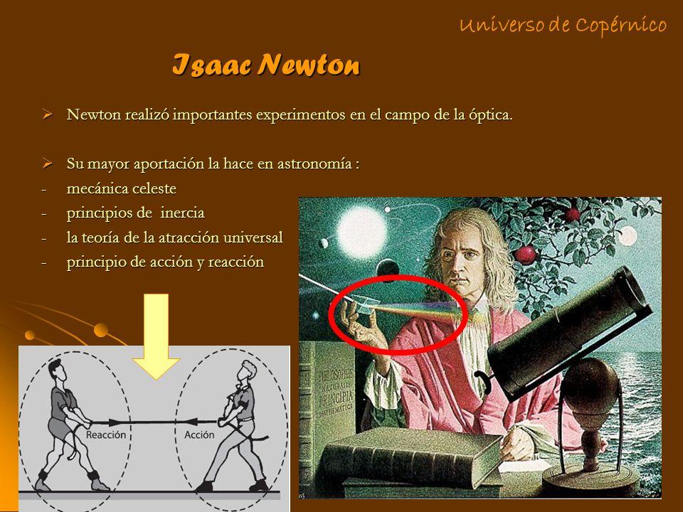 Isaac Newton Newton realizó importantes experimentos en el campo de la óptica. Newton realizó importantes experimentos en el campo de la óptica. Su ma